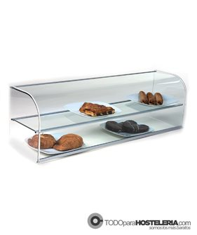 Vitrina neutra abierta de cristal curvo, de dos pisos con estante intermedio