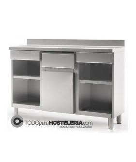 Mueble cafetero abierto con estantes